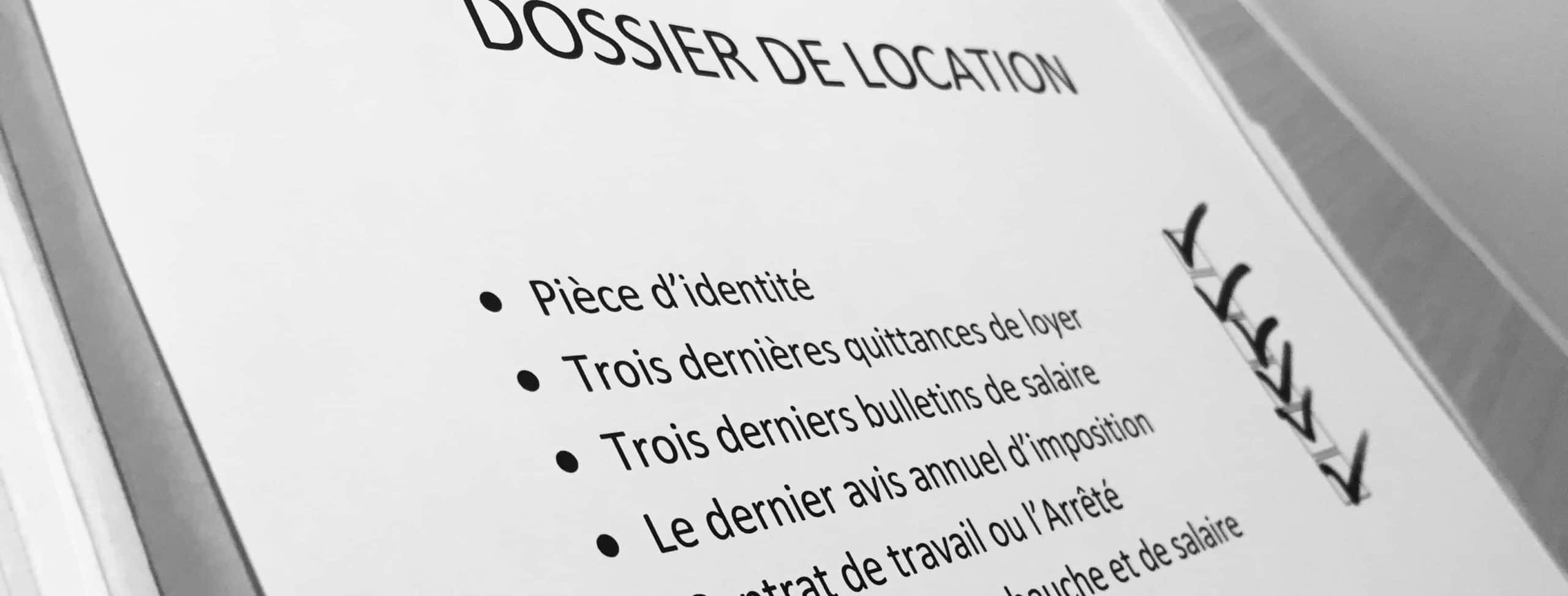 Check-list du dossier de location